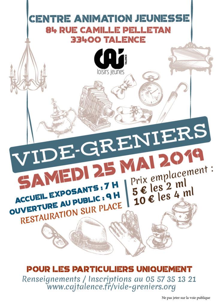 vide - greniers le samedi 25 mai 2019 - caj talence - loisirs jeunes